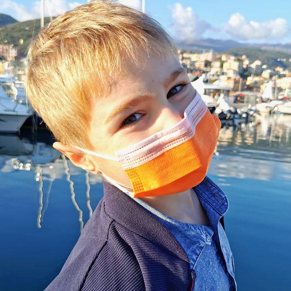 mascherine chirurgiche arancioni per bambini